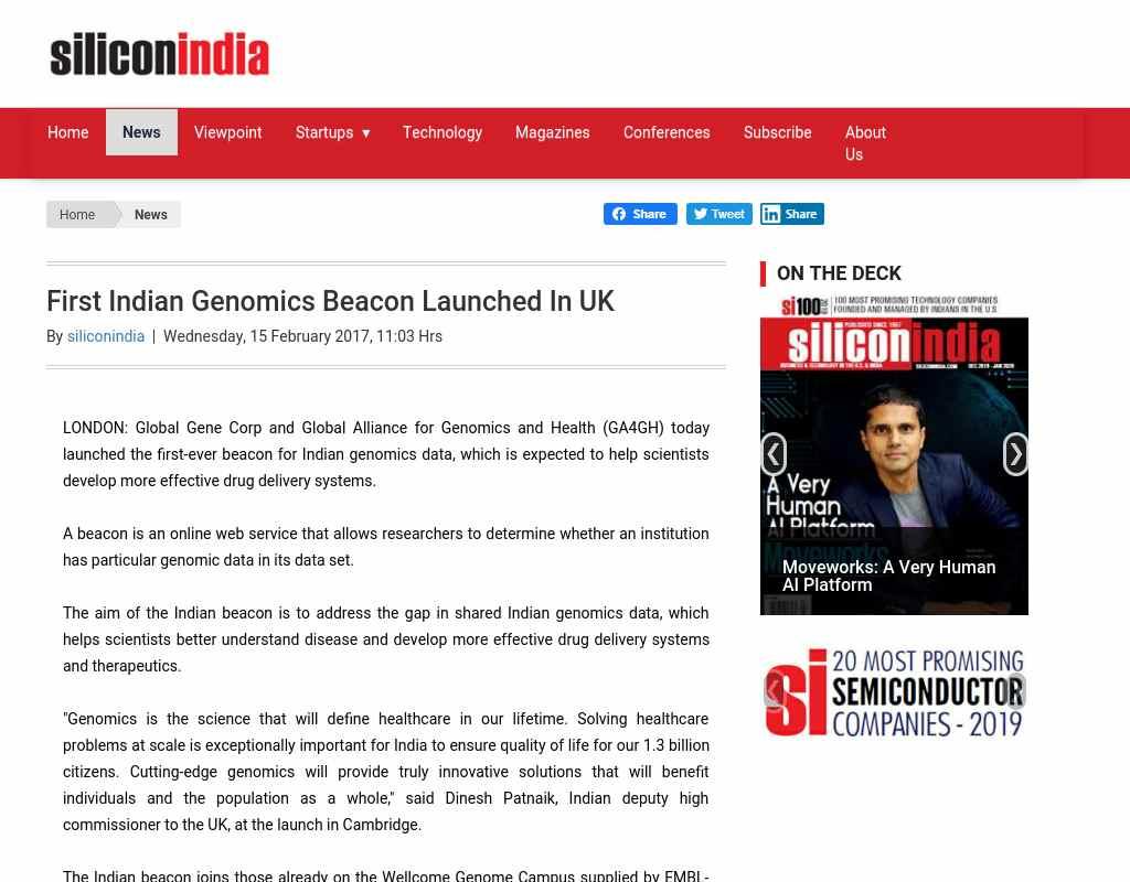 First Indian Genomics Beacon Launched In UK - Alumni NET