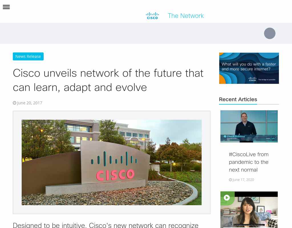 Cisco unveils network of the future that can learn, adapt