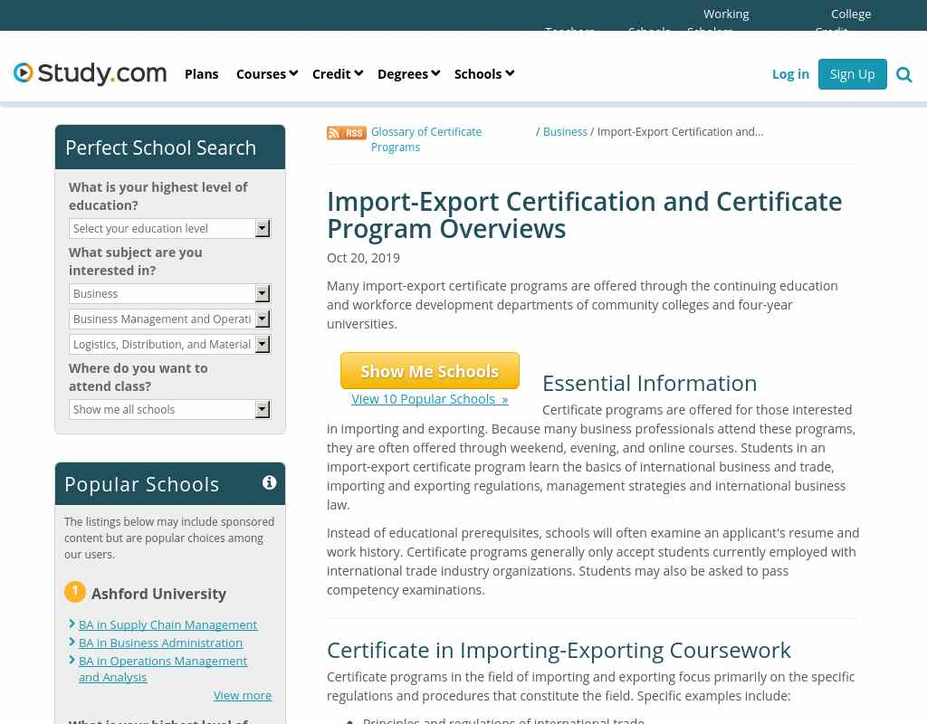 Import Export Certification And Certificate Program Overviews