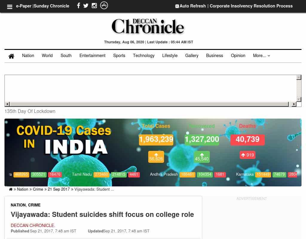 Vijayawada: Student suicides shift focus on college role