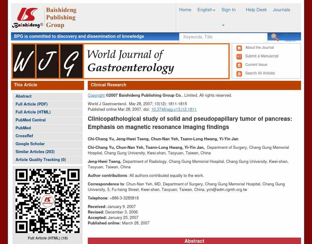 World Journal of Gastroenterology - Alumni NET