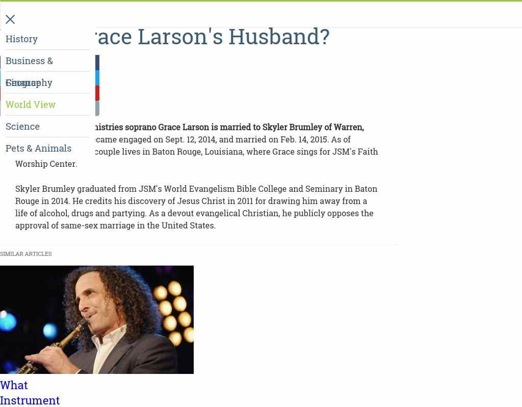 Who is Grace Larson's husband? - Alumni NET