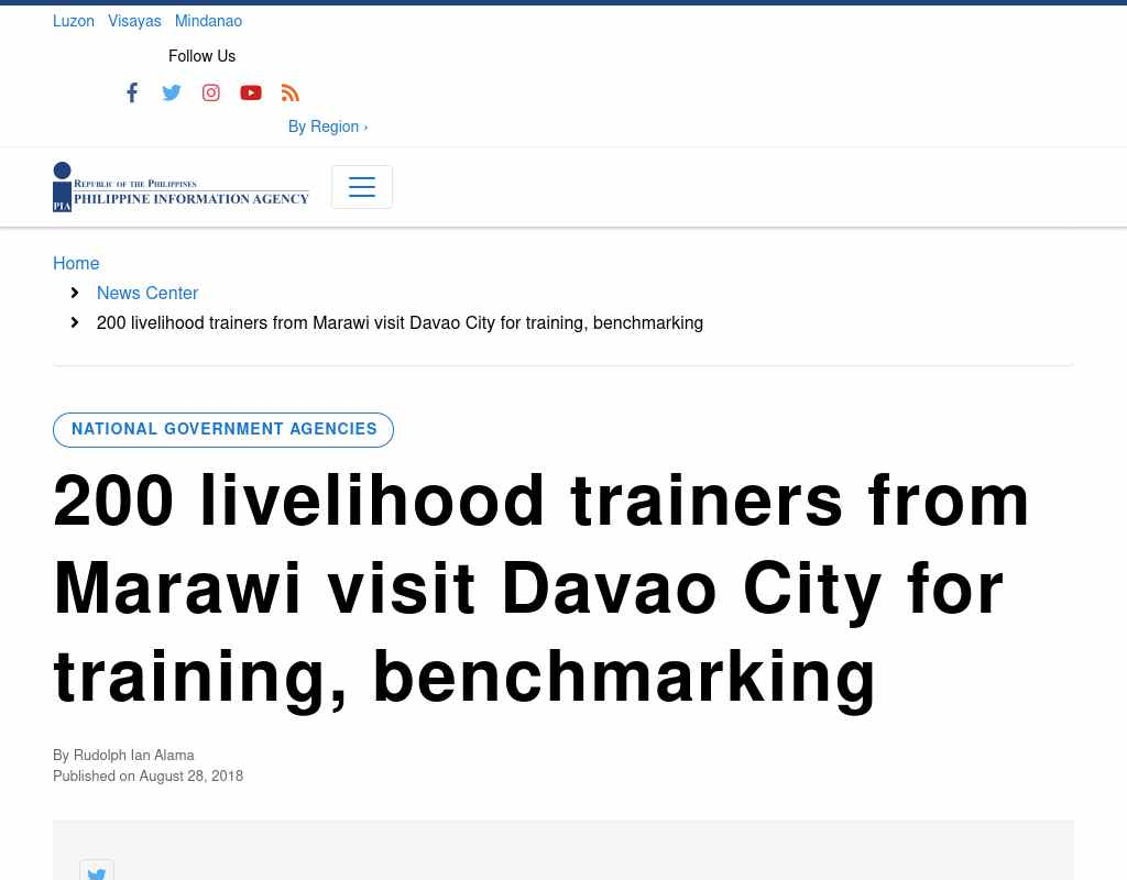 200 livelihood trainers from Marawi visit Davao City for