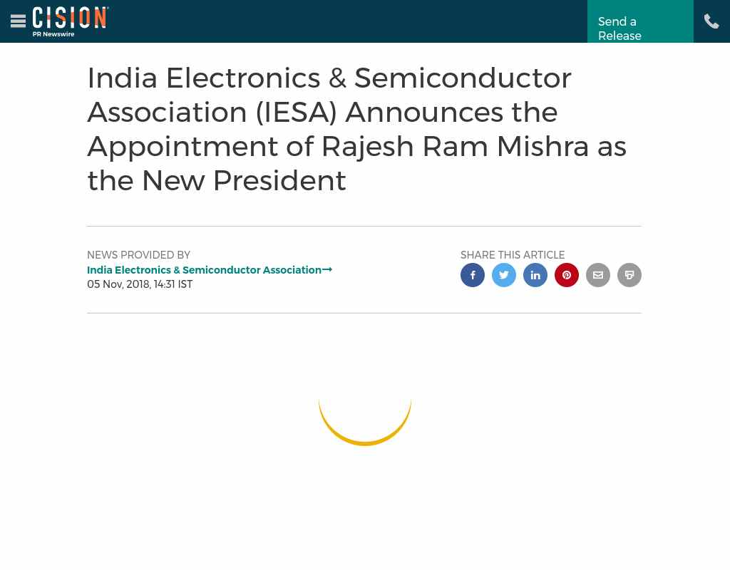 India Electronics & Semiconductor Association (IESA) Announces the