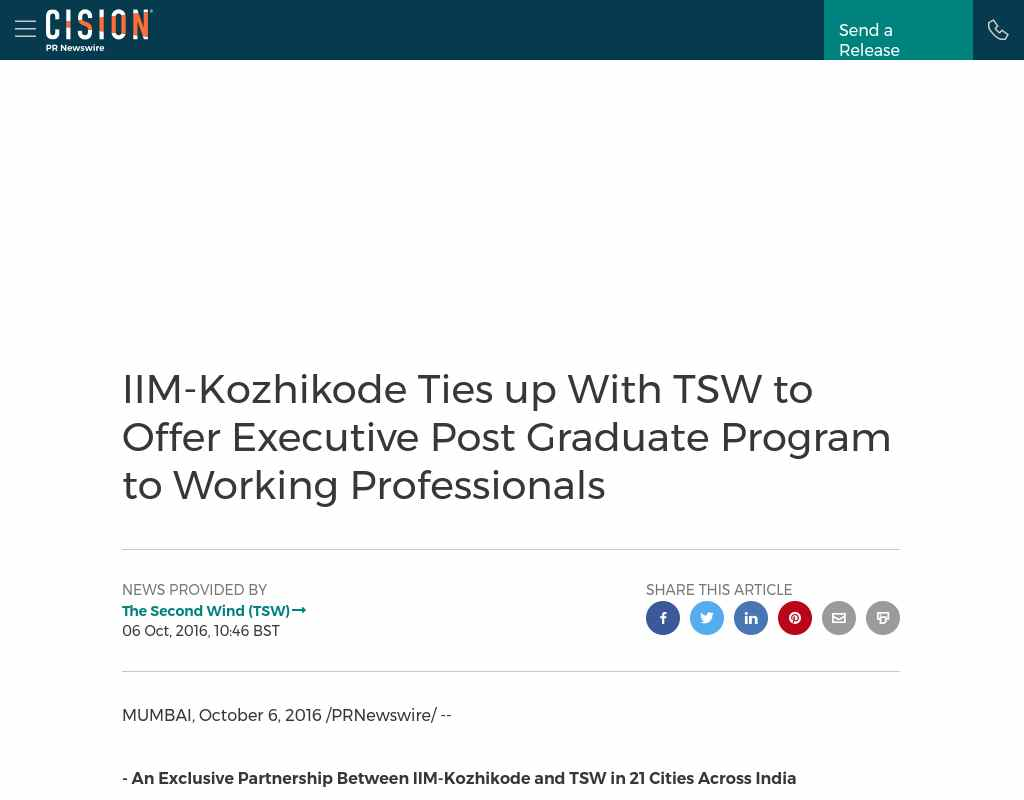 iim kozhikode ties up tsw to offer executive post graduate over 3000 working professionals an intensive interactive learning mode over a period of two years n institute of management kozhikode iim k