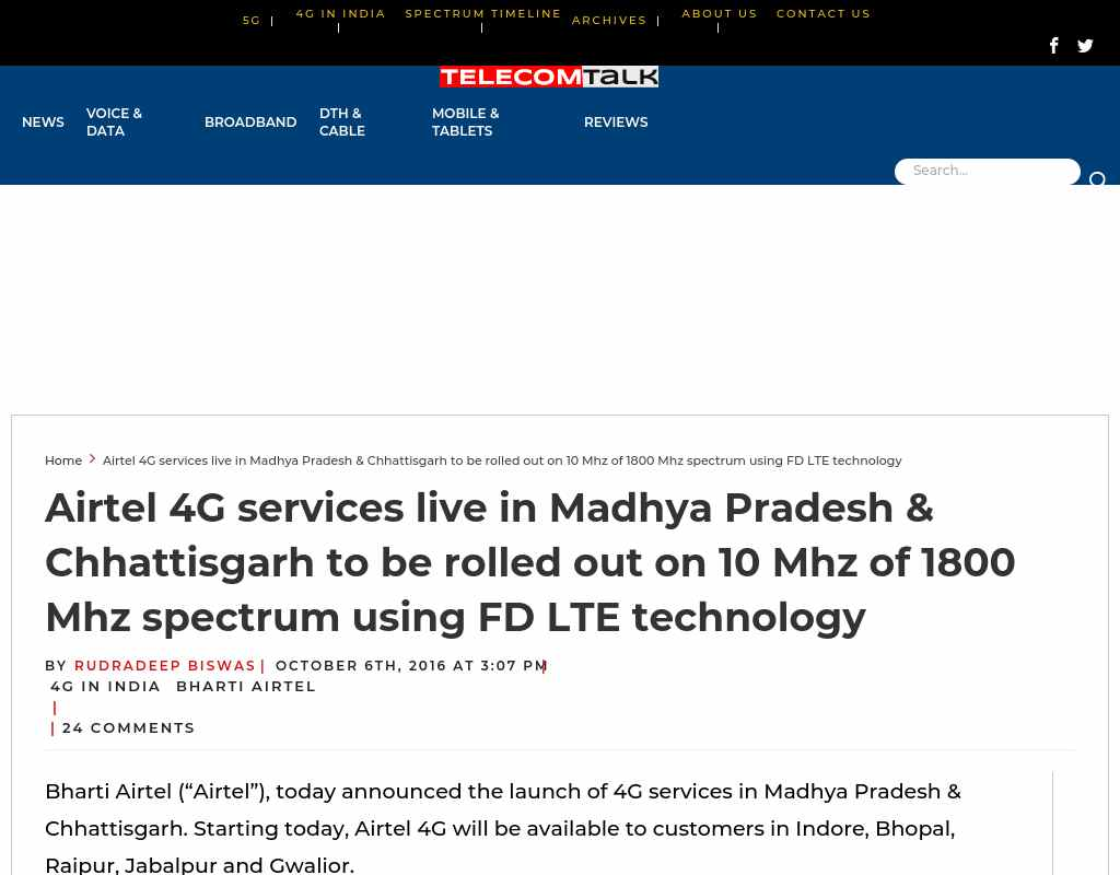 Airtel 4G services live in Madhya Pradesh & Chhattisgarh to be