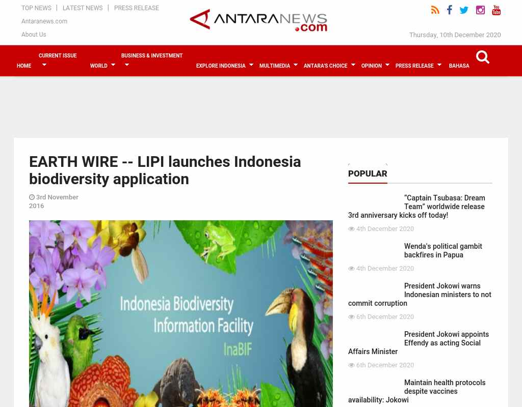 EARTH WIRE -- LIPI launches Indonesia biodiversity application ...